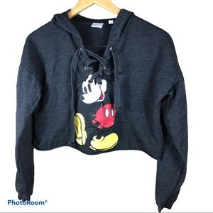 DISNEY Mickey Mouse cropped hooded grey sweater